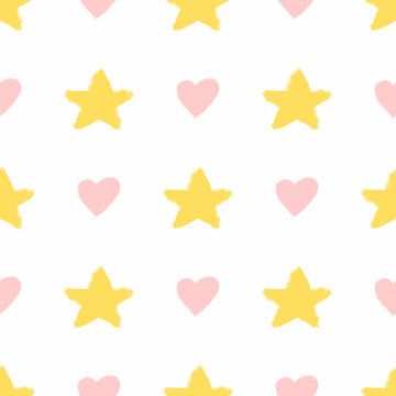 Repeating hearts and stars drawn by hand with watercolour brush. Cute seamless pattern. Sketch, watercolor, paint. Girly print.