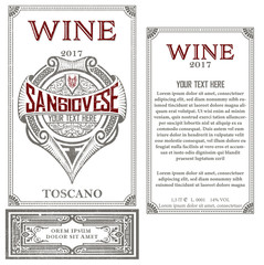 Vintage wine label with heraldic shield. Vector layered