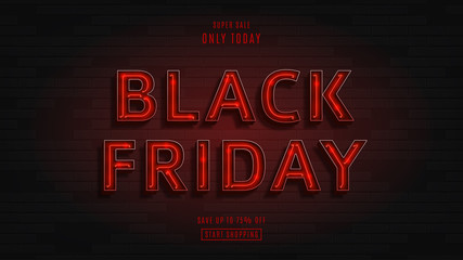 Web banner for black Friday sale. Modern neon red billboard on brick wall. Concept of advertising for seasonal offer with 3d glowing neon letters.