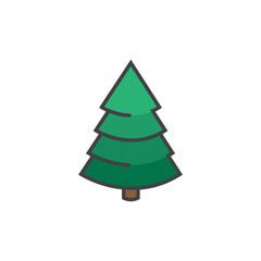 Christmas tree icon in flat style isolated on white background.