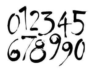 set of calligraphic acrylic or ink numbers. ABC for your design, brush lettering on a white background