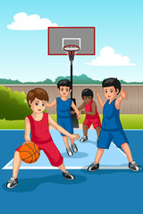 Multi Ethnic Group of Kids Playing Basketball Illustration