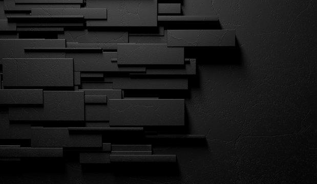 Fondo negro y oscuro abstracto de la pared o de los ladrillos de mármol. 3d ilustración de la pared moderna y elegante. Arquitectura interior sofisticada.
