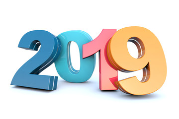 Happy New Year 2019 colorful calendar background
