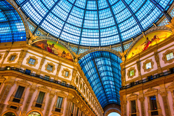 Galleria Vittorio Emanuele II in the center of Milan, Italy
