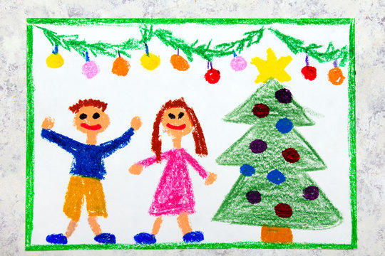 Colorful drawing: A Christmas time, a smiling couple and a beautiful Christmas tree