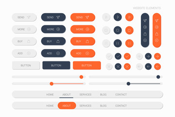 web elements with navigation, buttons, icons for use on the site