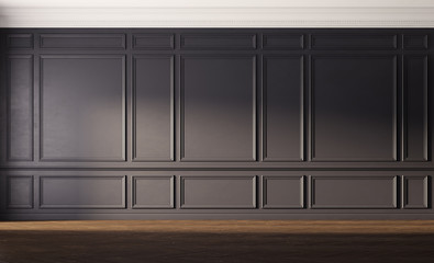 Interior with black wall and old wooden floor. 3d illustration