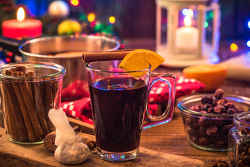 Mulled wine , Christmas festive warming drink