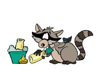 Illustration of a raccoon washing a milk bottle