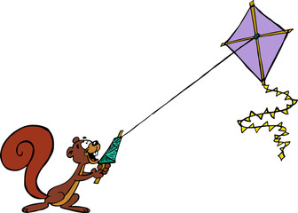 Squirrel flying a kite