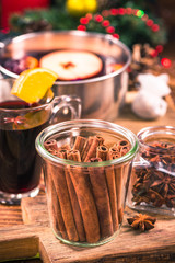 Cinnamon sticks in jar, festive Christmas spice