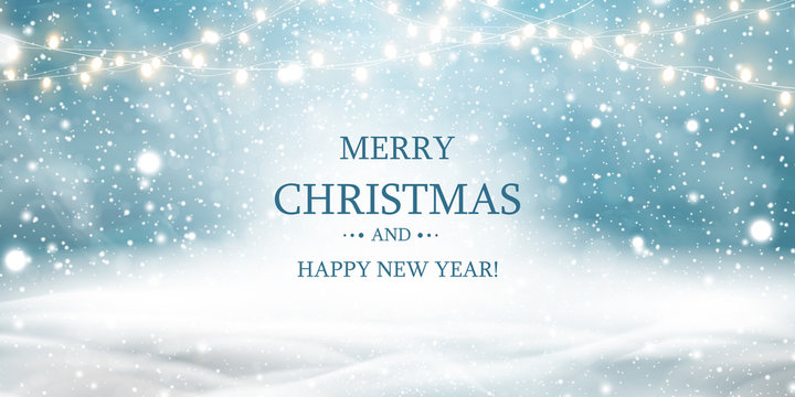 Merry Christmas. Happy new year. Natural Winter Christmas background with blue sky, heavy snowfall, snow, snowy light garlands, snowdrifts. Christmas scene.
