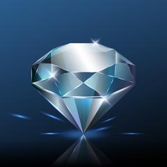 Big pure blue diamond with glitter, vector illustration