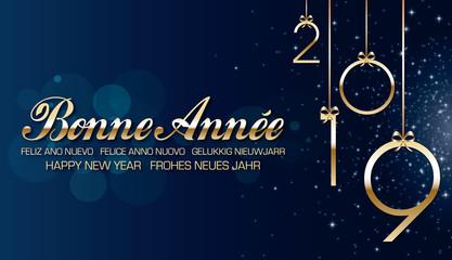 Bonne année 2019 bleu
