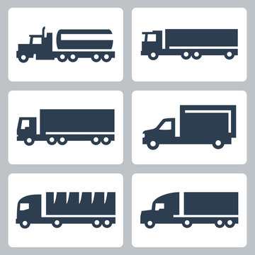 Vector trucks icons set, side view