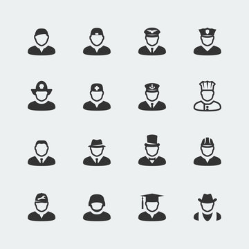 Vector people and professions mini icons set