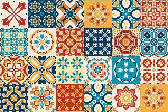 Traditional ornate decorative tiles. azulejos. Vector.