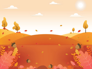 Autumn background illustration. Autumn fall leaves background. Beautiful autumn scenery background