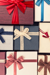 Gift box collection, directly above. Christmas holiday concept.