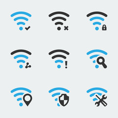 Wifi related vector icons set