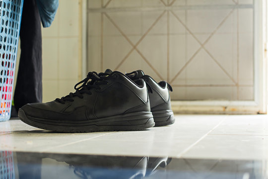 Black shoes in the room