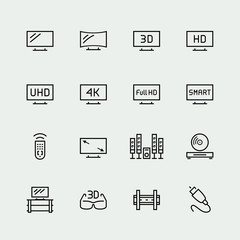 TV related vector icon set, thin line style