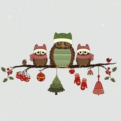 Greeting card with Christmas owls on branch