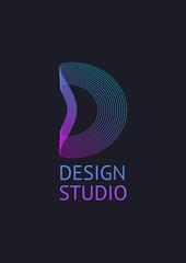 Fototapeta Vector minimal concept for abstract logo icon letter D. Digital Logo Design Template obraz