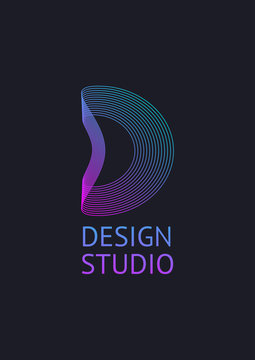 Vector minimal concept for abstract logo icon letter D. Digital Logo Design Template
