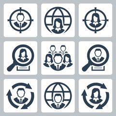 Business people, headhunting related vector icon set