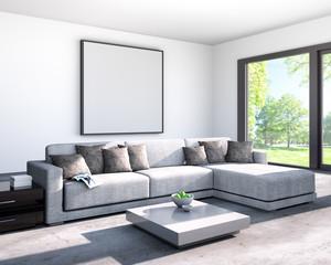 Wohnzimmer mit Sofa und Bild - Leerfläche