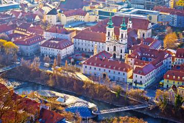 Graz city center and Mur river aerial view