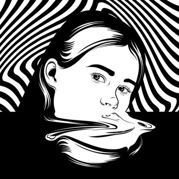 Vector hand drawn illustration of girl in surrealistic style. Tattoo artwork. Template for card, poster, banner, print for t-shirt, pin, badge and patch.