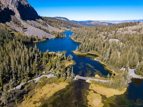 An aerial view of Mammoth Lakes