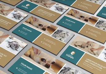 Business Card Layout with Tan and Blue Elements