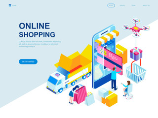 Modern flat design isometric concept of Online Shopping decorated people character for website and mobile website development. Isometric landing page template. Vector illustration.