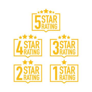 Set of a rating stamp, badge. Hotel rating. Vector illustration.