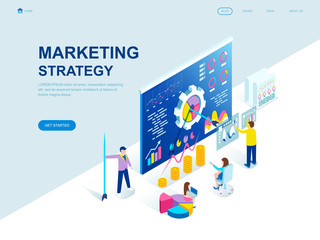 Modern flat design isometric concept of Marketing Strategy decorated people character for website and mobile website development. Isometric landing page template. Vector illustration.