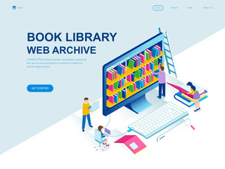 Modern flat design isometric concept of Book Library decorated people character for website and mobile website development. Isometric landing page template. Vector illustration.