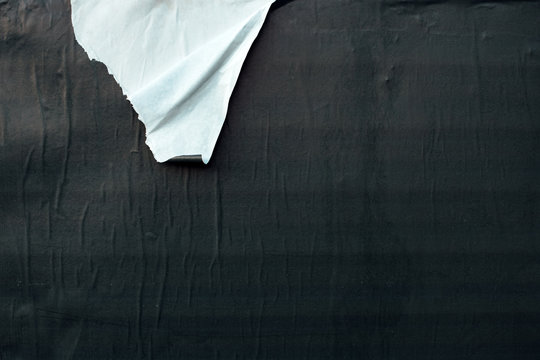 Torn ripped black and white poster paper