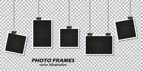 Set of photo frames with stationery clip on a transparent background