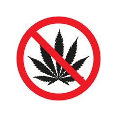 Prohibiting sign no drags with marijuana icon. Vector illustration
