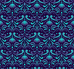 Ornamental Arabesque floral tiles seamless vector pattern. Abstract Flower Background.