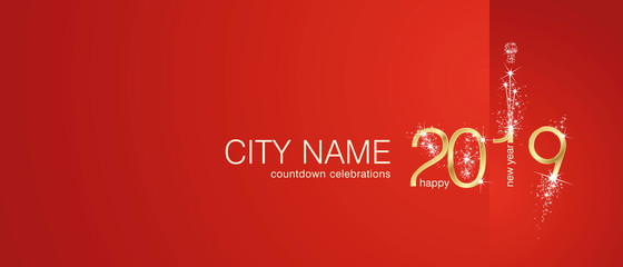 New Year 2019 gold firework city countdown celebrations invitation red background