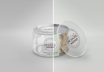 Clear Short Can with Pull Tab and Clear Lid Packaging Mockup