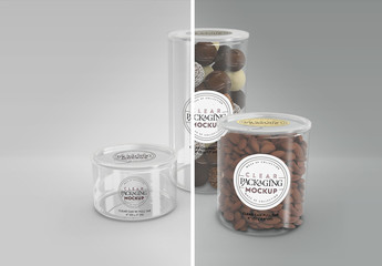 Clear Cans with Pull Tabs and Clear Lids Packaging Mockup