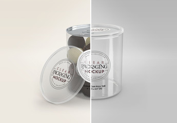 Clear Tall Can with Pull Tab and Clear Lid Packaging Mockup