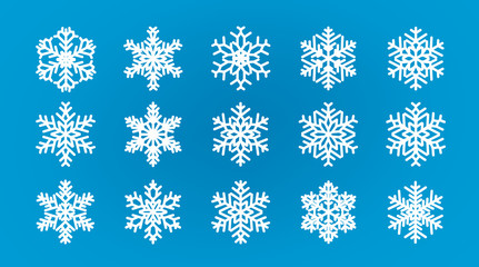 Set of different snowflakes. Winter, wintertime concept. Cartoon vector illustration