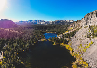 View of Twin Lakes, Lake George, the southeastern slope of Mammoth Mountain, Mono County, eastern California, eastern Sierra Nevada, Inyo National Forest, shot from drone, summer view